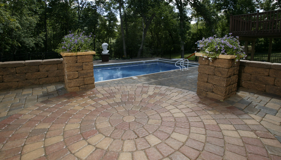 Circlestone Patio Leads to Pool