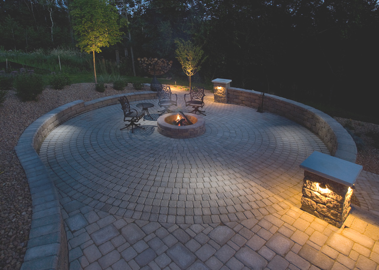 Circlestone Patio, Seat Walls & Firepit