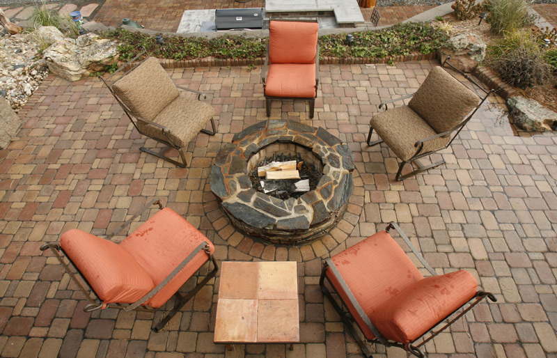 Cobblestone Patio with Fire Feature