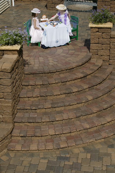 Raised Patio & Cobblestone Steps
