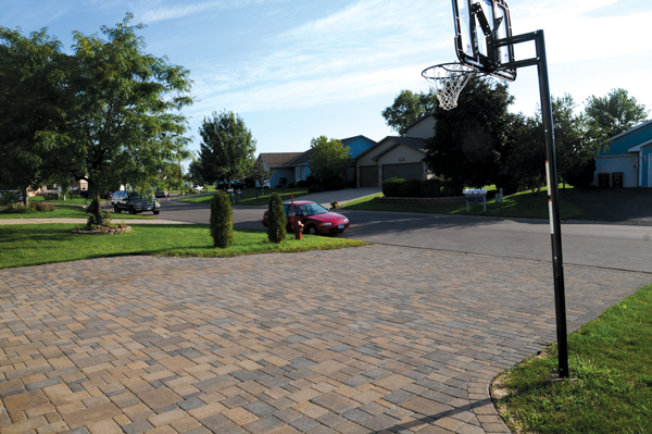 Cobblestone Driveway with Basketball Hoop
