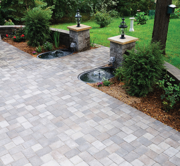 Cobblestone Patio with Columns