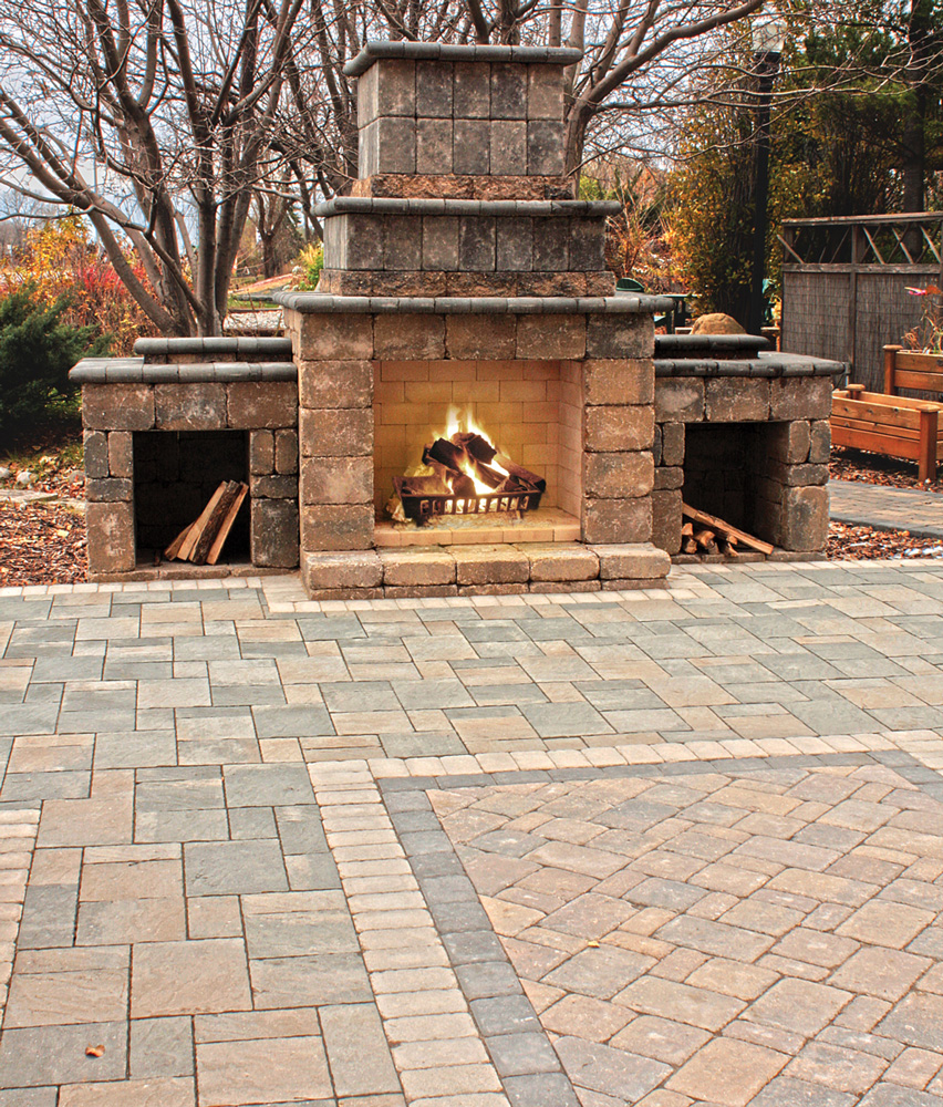 Patio with Ledgestone Fireplace Kit