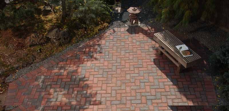 Brickstone Herringbone Pattern Patio