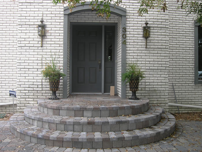 Half-Circle Cobblestone Entrance Steps