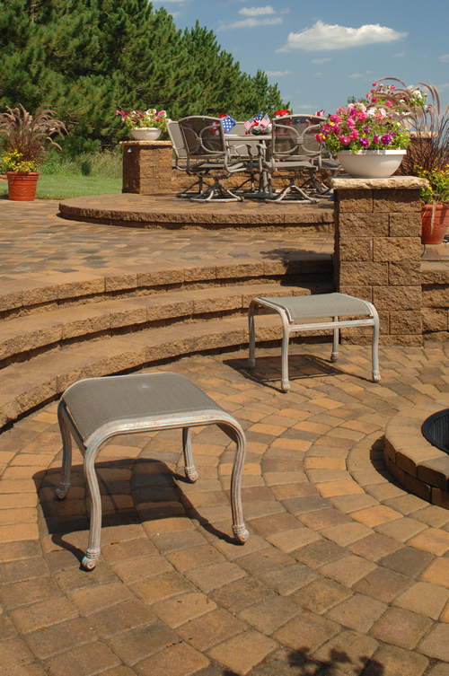 Curved Cobblestone Stairs & Circlestone Patio