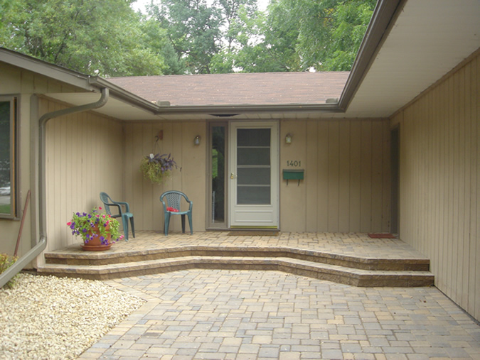 Cobblestone Steps & Raised Patio Porch