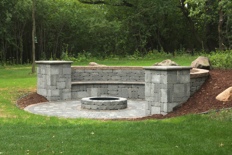 Ledgestone Seat Wall, Patio and Firepit